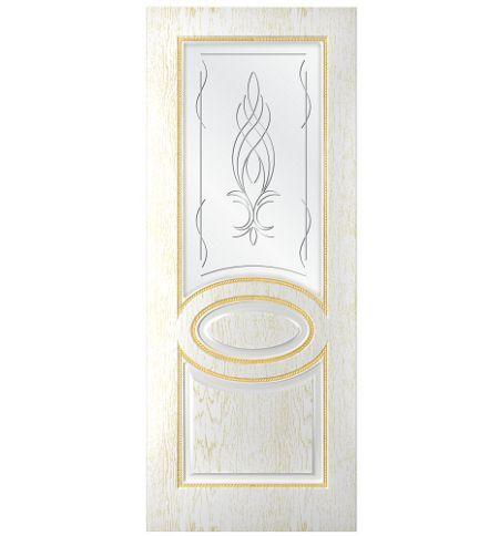 фото: Дверь Престиж, шпон натуральный дуб тон ясень белый/золото, стекло сатинат рис.Бутон, гравировка