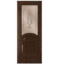 фото: Дверь Престиж, шпон натуральный дуб тон каштан, стекло сатинат бронза рис.Бутон, гравировка