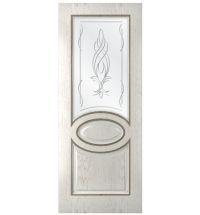 фото: Дверь Престиж, шпон натуральный дуб тон капучино, стекло сатинат рис.Бутон, гравировка