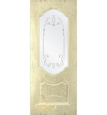 фото: Дверь Премиум-1, шпон натуральный дуб тон слоновая кость, стекло сатинат гравировка рис.1