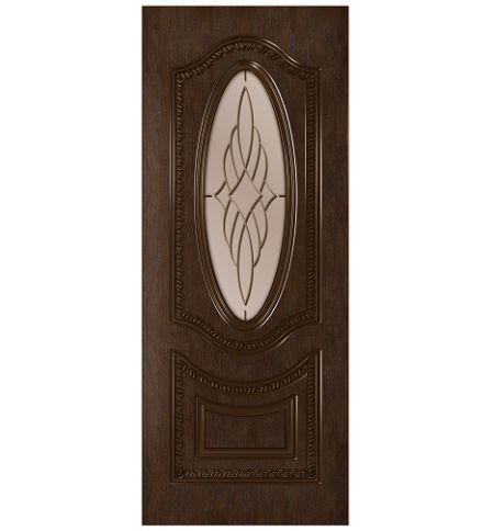 фото: Дверь Президент, шпон натуральный дуб тон каштан, стекло сатинат бронза рис.1, гравировка
