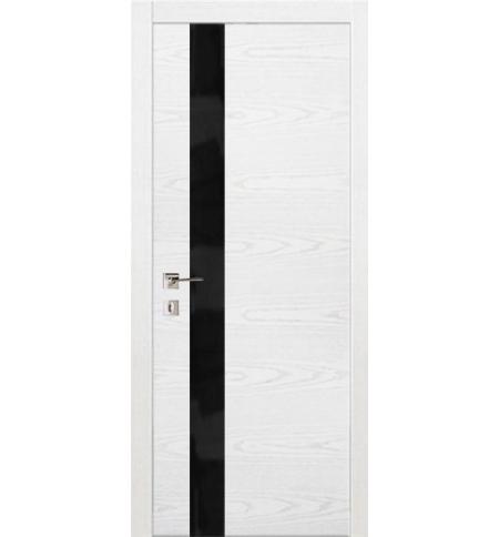 фото: Дверь ПО Геометрия С Ясень бланко черное стекло из Шпон