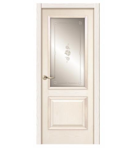 фото: Дверь ПО Твинс ясень карамель, стекло Поляна из Шпон